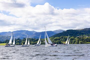 Obraz The English Lake District - Sailing on Ullswater on a breezy day, Cumbria UK - fototapety do salonu
