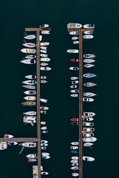 Aerial view to a yachts on the marina