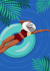 Kobieta opalająca się nad morzem. Widok z góry szczupłej blond dziewczyny w czerwonym bikini i kapeluszu na dmuchanym kole w dużym basenie. Sportowa sylwetka. Letnia wakacyjna ilustracja wektorowa.