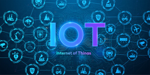 Fototapeta The concept of connecting devices via wireless IOT communication. Icons of various devices on a blue background with neon text. Internet of things automation system with digital icon concept. Vector obraz