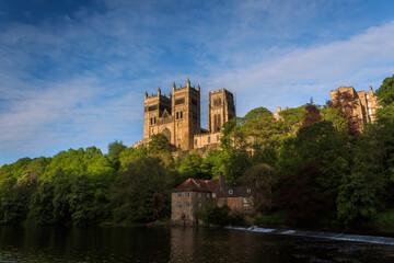 Fototapeta Durham Cathedral during a summer sunset golden hour selective focus obraz