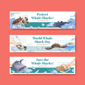 Banner template with international whale shark day concept,watercolor style