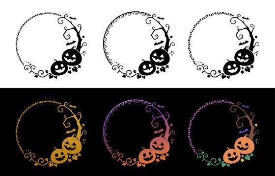 ハロウィンのカボチャと木の飾り枠_丸いフレーム_シルエット素材セット