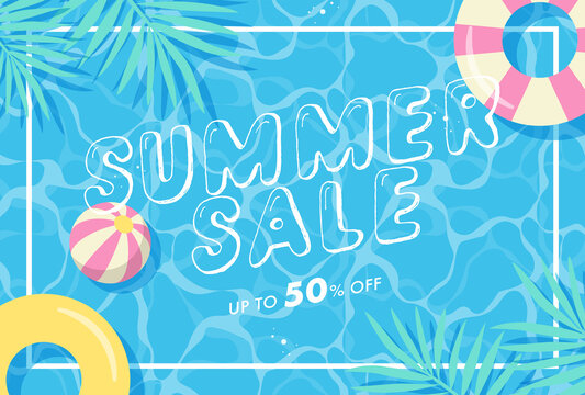 summer vector background with pool illustrations for banners, cards, flyers, social media wallpapers, etc.