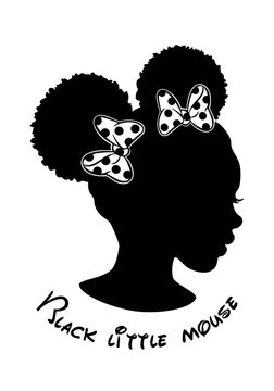 Black Afro African American little girl vector portrait profile head face silhouette,natural waves hair puffs ponytails mouse hairstyle,white bow.Laser plotter cutting.T shirt print. Sticker. DIY