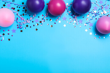 Obraz Many balloons and confetti on light blue background, flat lay with space for text. Birthday decor - fototapety do salonu