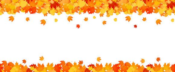 Fototapeta Panoramic autumn frame of orange and red falling leaves. obraz