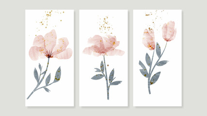 Fototapeta Flower watercolor art triptych wall art vector. Abstract art background with sweet orange and pink Floral Bouquets, Wildflower   and leaf  hand paint design for wall decor, poster and wallpaper. obraz