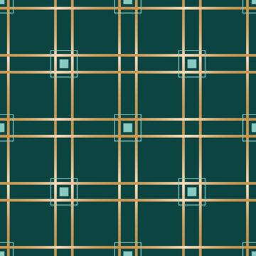 Vector golden teal check green seamless pattern