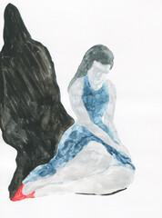 watercolor painting. fantasy female portrait. illustration.
