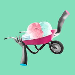 Fototapeta Composition with human hands pushing ice cream cart on light green background. Modern design, contemporary art collage. Inspiration, idea, trendy urban magazine style. obraz