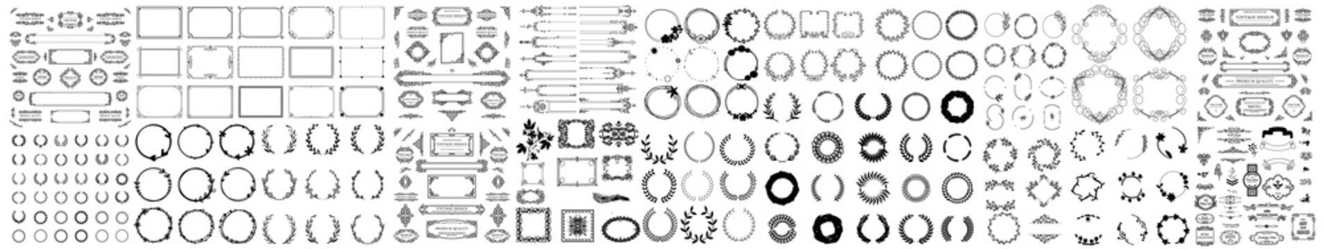 Big set with wreath, design elements, frames, calligraphic. Vintage line elements. Retro design elements. Ornaments and Frames. Drawing geometrics line. Decoration,Vector set of calligraphic design