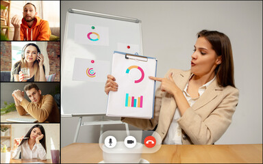 Annual report. Team working by group video call share ideas brainstorming use video conference.