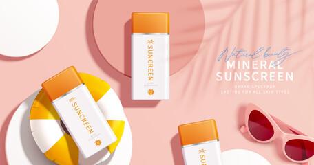 Fototapeta Cosmetic product promo ad template obraz