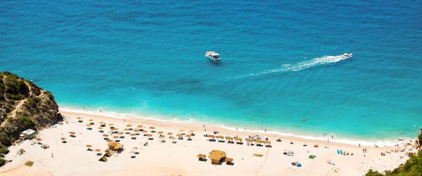 summer Ionian sea coast top view with beaches, Albania