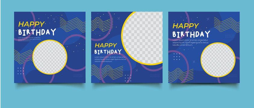 Birthday party social media post template