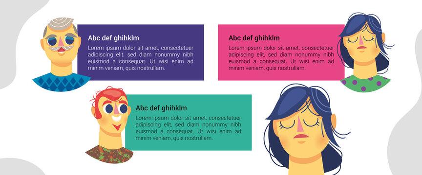 Encart texte information personnage tête discussion multigénérationnel expression communication bulle de conversation illustration émotion