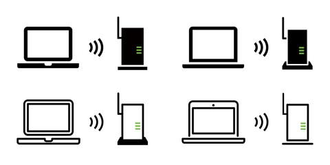 Fototapeta Wi-Fi, ルーター, 無線LAN, インターネットのベクターアイコンイラスト素材セット obraz