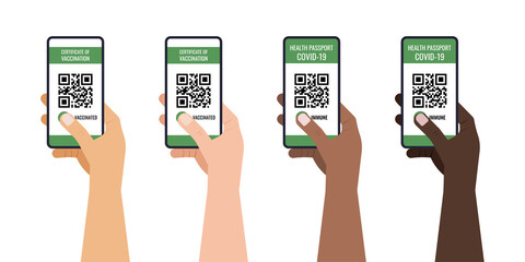 Fototapeta Green certificate of vaccination on mobile phone screen with qr-code pass check mark vaccinated. Health passport app travel protection in different skin color hands. Flat design vector illustration obraz