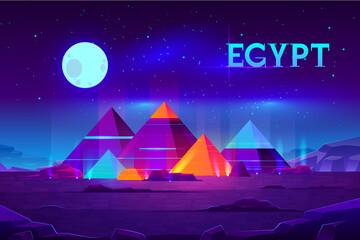 Egyptische piramiden nacht landschap cartoon vector
