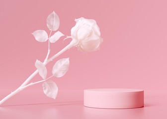 Fototapeta Cosmetic product display podium with abstract white cream color flower, floral minimal object placement scene 3d rendering obraz