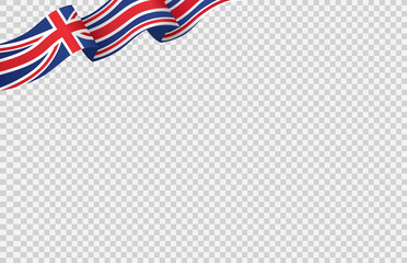 Obraz Waving flag of  UK isolated  on png or transparent  background,Symbols of  United Kingdom,Great Britain,template for banner,card,advertising ,promote, TV commercial, ads, web, vector illustration - fototapety do salonu