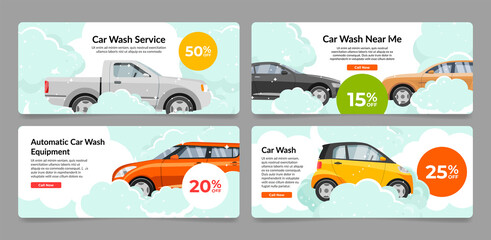 Obraz Collection car wash service internet advertising banner vector automobile cleaning landing page - fototapety do salonu