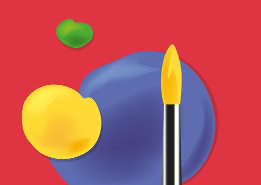 Fond sur le thème des beaux arts, avec un pinceau et des touches de peinture de couleurs vives.
