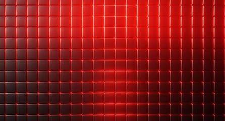 Fototapeta Czarno czerwone tło w kratkę. Neon czerwony. 3d rendered obraz