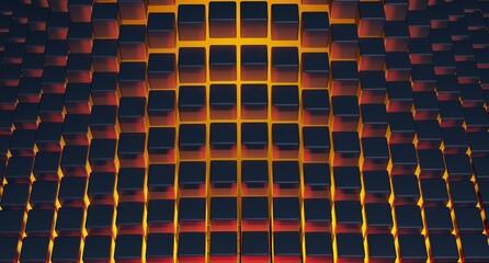 Abstrakcja, tło sześcian, pomarańcz, neon. 3d rendered