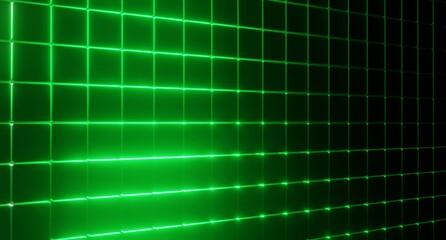 Obraz Czarno zielone tło. Neon zielony. 3d rendered - fototapety do salonu