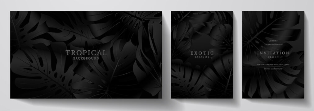 Exotic black banner, cover design set. Floral background with tropical pattern of leaf (monstera plant). Premium horizontal and vertical vector template for invitation, luxury voucher, gift card