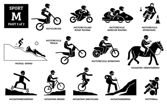 Sport games alphabet M vector icons pictogram. Motocross, motorcycling road racing, sidecar, gymkhana, mogul skiing, motorcycle trials, speedway, mounted orienteering, moutainboarding, and motoball.