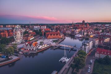 Fototapeta Panorama Gdańska o zachodzie słońca obraz