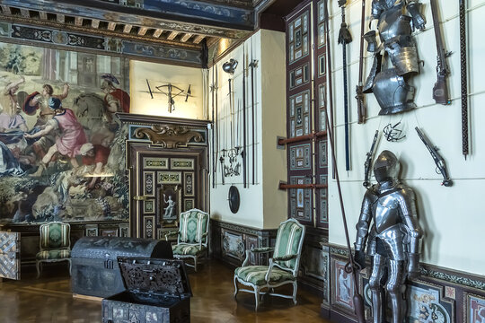 Interior of Cheverny Castle: The Arms room - largest room in castle. Cheverny is most luxuriously decorated castle in Loire Valley castles, UNESCO World Heritage Site. CHEVERNY, FRANCE. June 10, 2015.