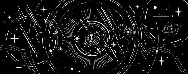 Fototapeta Vector abstract space illustration with star, planet and white color line obraz