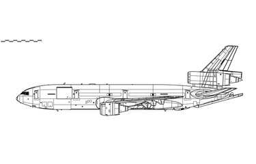 Fototapeta McDonnell Douglas KC-10 Extender. Vector drawing of aerial refueling tanker and transport aircraft. Side view. Image for illustration and infographics. obraz