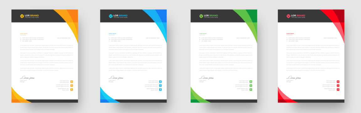 corporate modern letterhead design template with yellow, blue, green and red color. creative modern letter head design template for your project. letterhead, letter head, Business letterhead design.