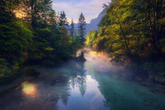 Scenic river in highland forest in foggy morning