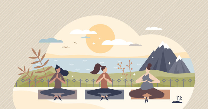 Yoga retreat and meditation group practice for body and mind wellness tiny person concept. Relaxation, breathing exercise, concentration and mindful balance together in sunset vector illustration.