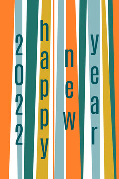 2022 Happy New Year greeting card. Geometric striped ornament. Mid century modern design concept. Retro colors.