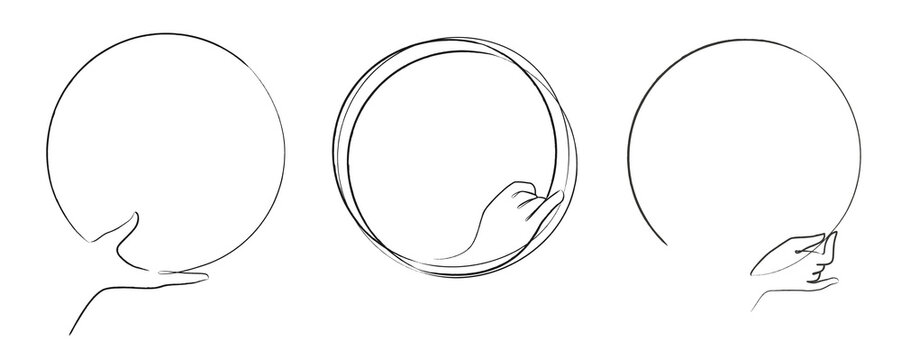 Set of hand drawn circle logos with different hand gesture