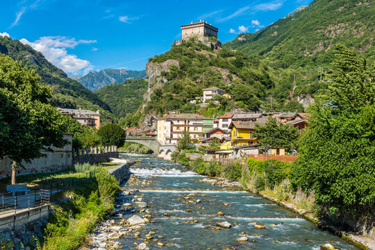 Beautiful view in Verres on a sunny summer day. Aosta Valley, northern Italy.
