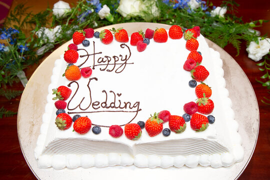 Wedding cake. There is copy space.