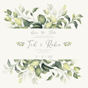 lovely save date invitation with watercolor leaves design vector illustration