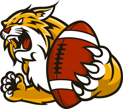 A aggressive wildcat holding a football in its claws Sport Mascot Design