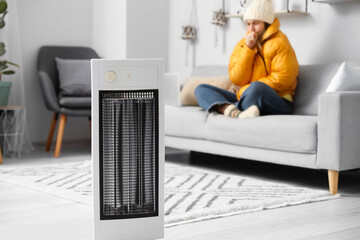 Fototapeta Young woman sitting in room with electric heater. Concept of heating season obraz