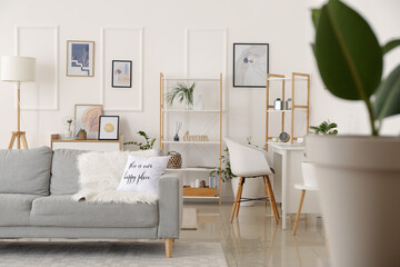 Fototapeta Interior of stylish living room with pictures obraz