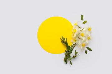 Fototapeta Beautiful daffodils and blank card on white background obraz