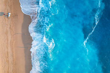 Obraz Aerial top down view to the fluorescent sea of the island Lefkada, Ionian Sea, Greece, with copy space - fototapety do salonu